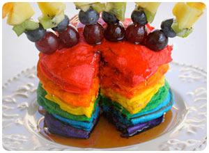 double rainbow pancakes