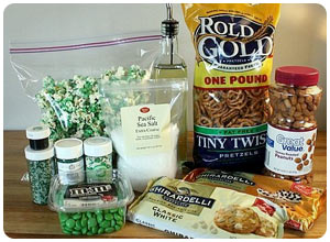 green popcorn and pretzel party mix