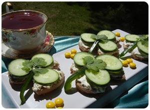 shamrock cucumber tea sandwiches