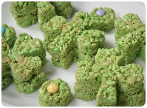 shamrock rice krispy treats