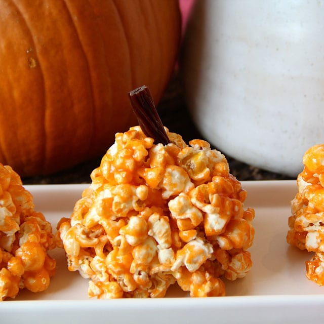 Pumpkin Popcorn Balls for Halloween- your kids will love these!