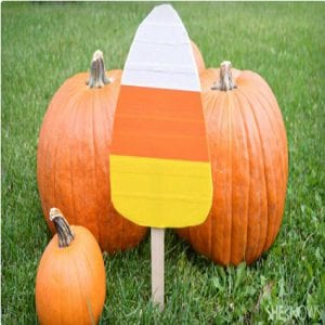 DIY Candy Corn Yard Sticks