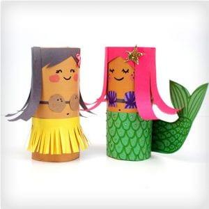 Hula Girl and Mermaid BFF