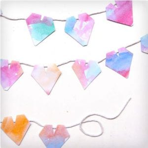 Watercolor Heart Garland