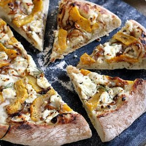 Acorn Squash, Caramelized Onion, and Goat Cheese Pizza