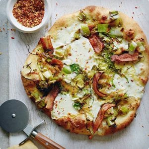 Bacon, Brussels, and Leek Pizza