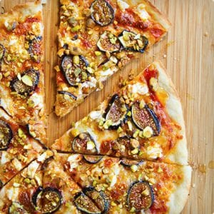 Fig Pizza with Goat Cheese, Pistachios and Honey