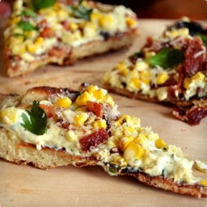 Grilled Corn Bacon Pizza with Garlic and Herb Cheese