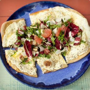 Ricotta Pizza with Radicchio and Grapefruit Salad