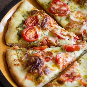 Roasted Tomato Pesto Pizza