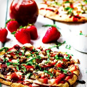 Strawberry Pizza with Fresh Mozzarella, Basil, and Balsamic Reduction