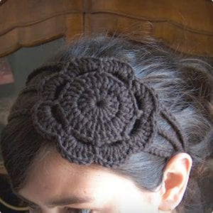 3 Strand Knit Headband With Flower
