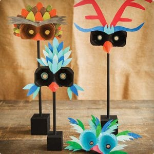 Creative Bird Masks Made From Egg Cartons