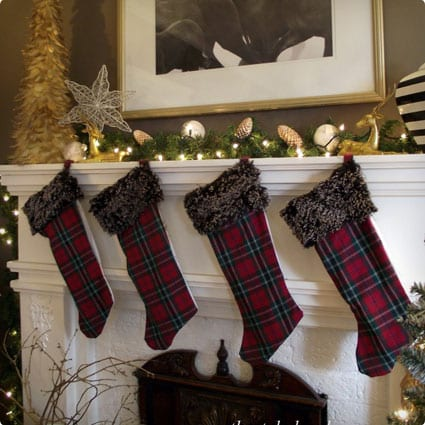 Easy Plaid Stockings With Fluffy Trim