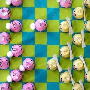 Egg Carton Easter Checkers