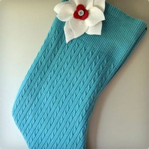 Felt-Lined Sweater Stocking With Poinsettia Accent