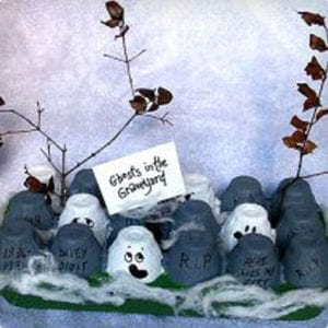 Ghostly Graveyard Made From an Egg Carton