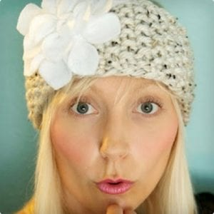 Knitted Headband With Felt Flower
