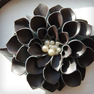 Leather Petals and Pearls Headband