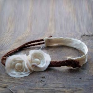Leather and Ruffled Roses Headband
