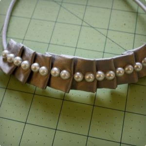 Pleated Headband With Pearls
