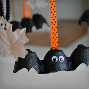 Simple Egg Carton Bats and Ghostly Leaves Garland
