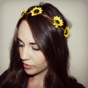 Sunflower Leather Headband