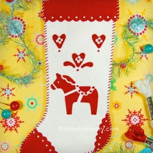 Swedish Dala Horse Stocking
