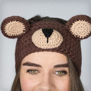 Teddy Bear Crochet Headband Tutorial