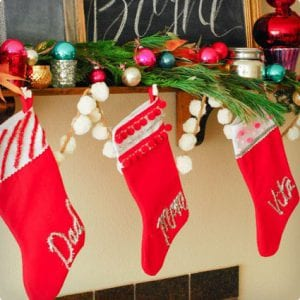 tinsel typography stockings - Decorating Christmas Stockings