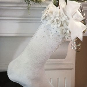 White Poinsettia & Pearl Stockings