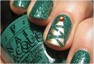 Artsy Christmas Tree in Gold and Green