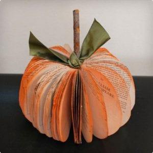 Book Pages Pumpkin Craft
