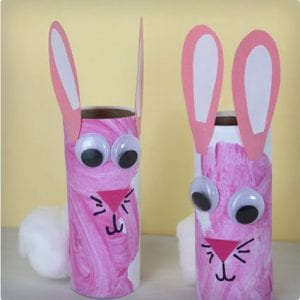 Bunny Rabbits Made From Toilet Paper Rolls