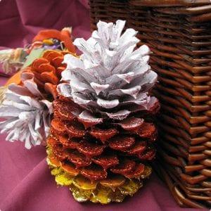 Candy Corn Pine Cones