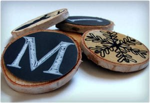Chalkboard on Wooden Circles Ornament Tutorial