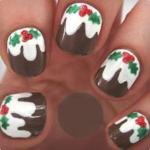 Christmas Pudding Nail Art Tutorial