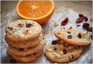 Cranberry, Orange, and White Chocolate Chip Cookies