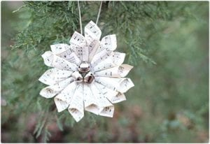 DIY Christmas Wreath Ornament Made With Sheet Music