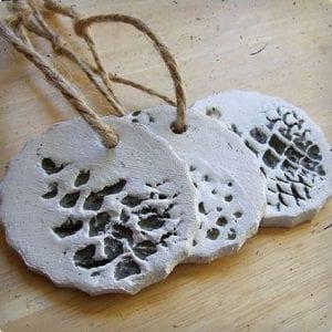DIY Clay Pine Cone Ornaments