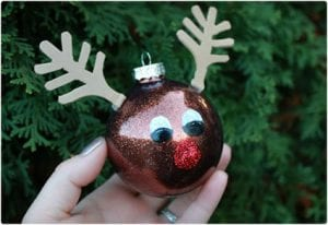 DIY Rudolph Glitter Ornament