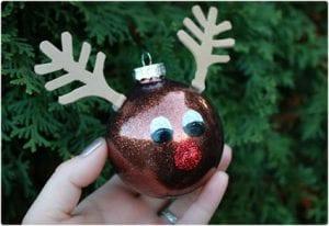 DIY Rudolph Glitter Ornament