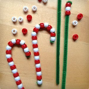 Easy Beaded Candy Canes & Snowman Pins