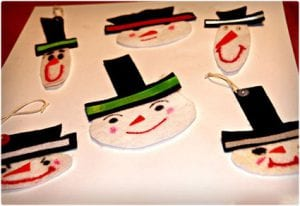 Easy Felt Snowmen Ornaments