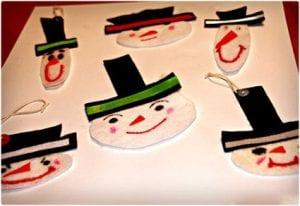 Easy Felt Snowmen Ornaments