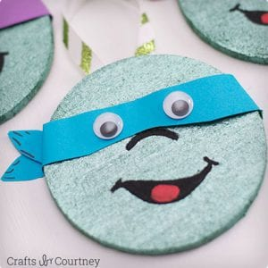 Easy TMNT Coaster Ornaments For Kids