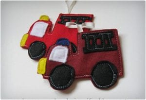Felt Firetruck Christmas Ornament
