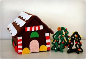 Felt and Cardboard Gingerbread House