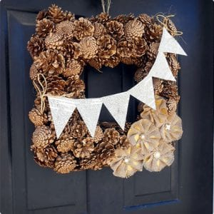 Golden Pine Cone Door Wreath