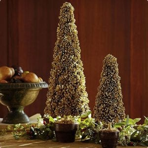 Golden Pine Cone Topiaries